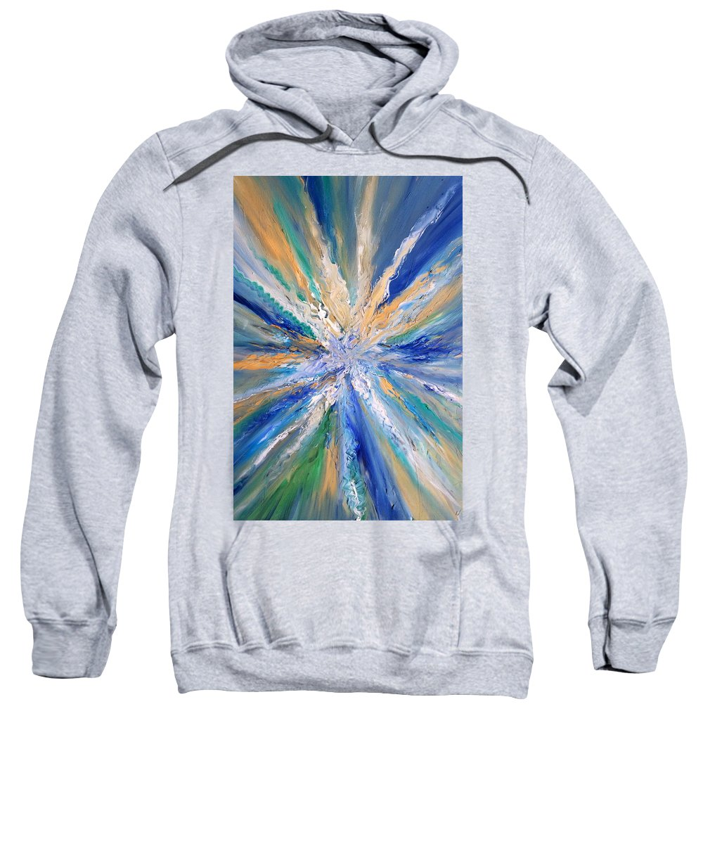 Sea Sweatshirt featuring the painting Star Bursting by Scott French