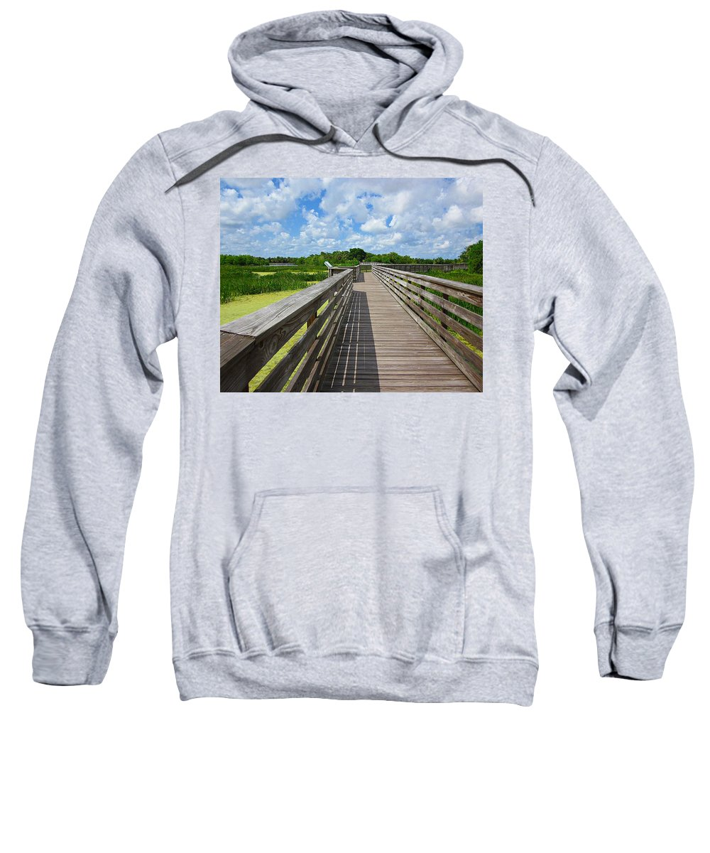 Green Cay Nature Preserves Sweatshirt featuring the photograph Florida Boardwalk by MTBobbins Photography