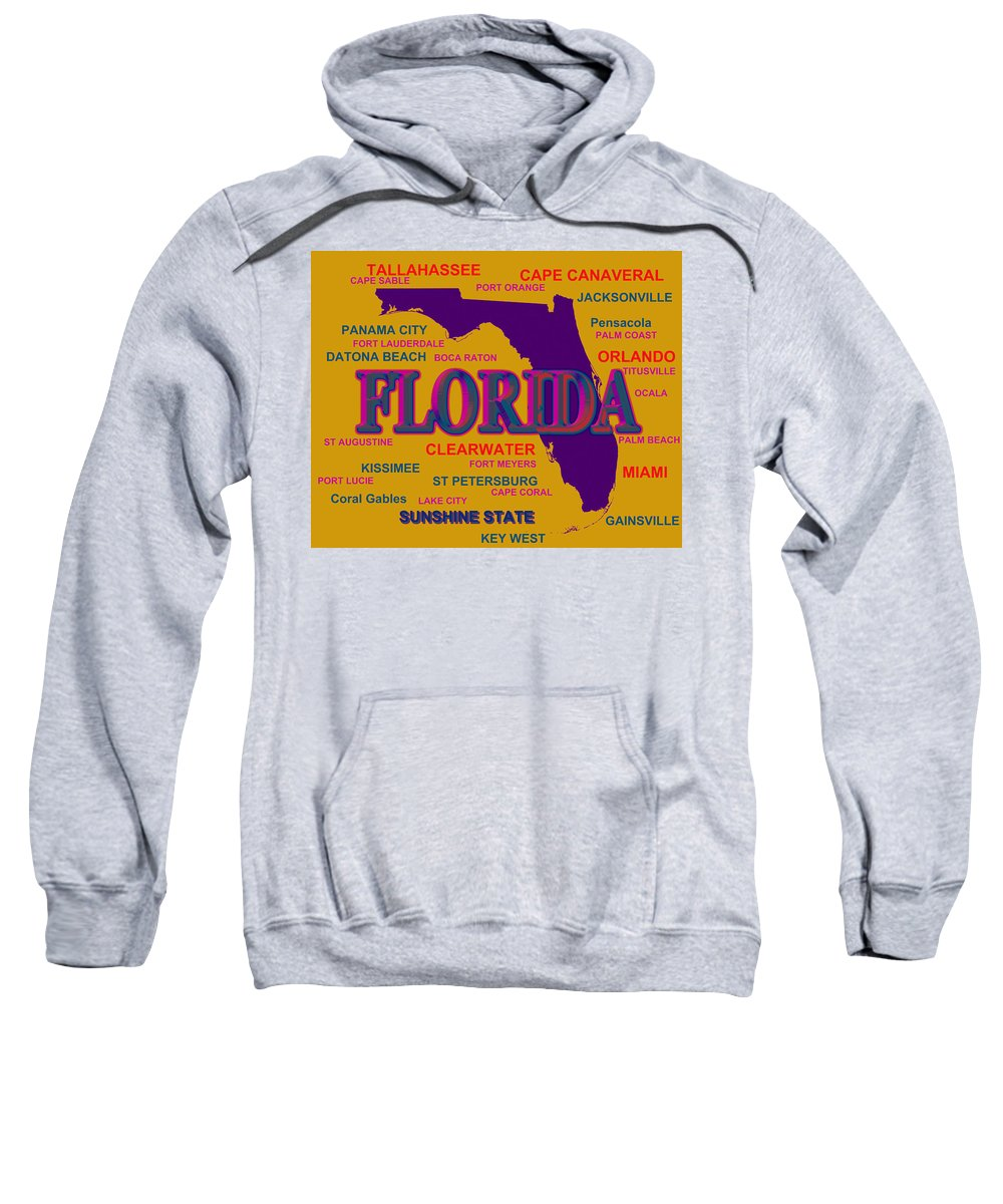 Florida Sweatshirt featuring the photograph Florida State Pride Map Silhouette by Keith Webber Jr