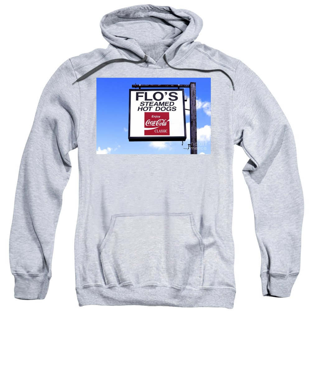 American Food Sweatshirt featuring the photograph Flo's Steamed Hot Dogs by Jerry Fornarotto