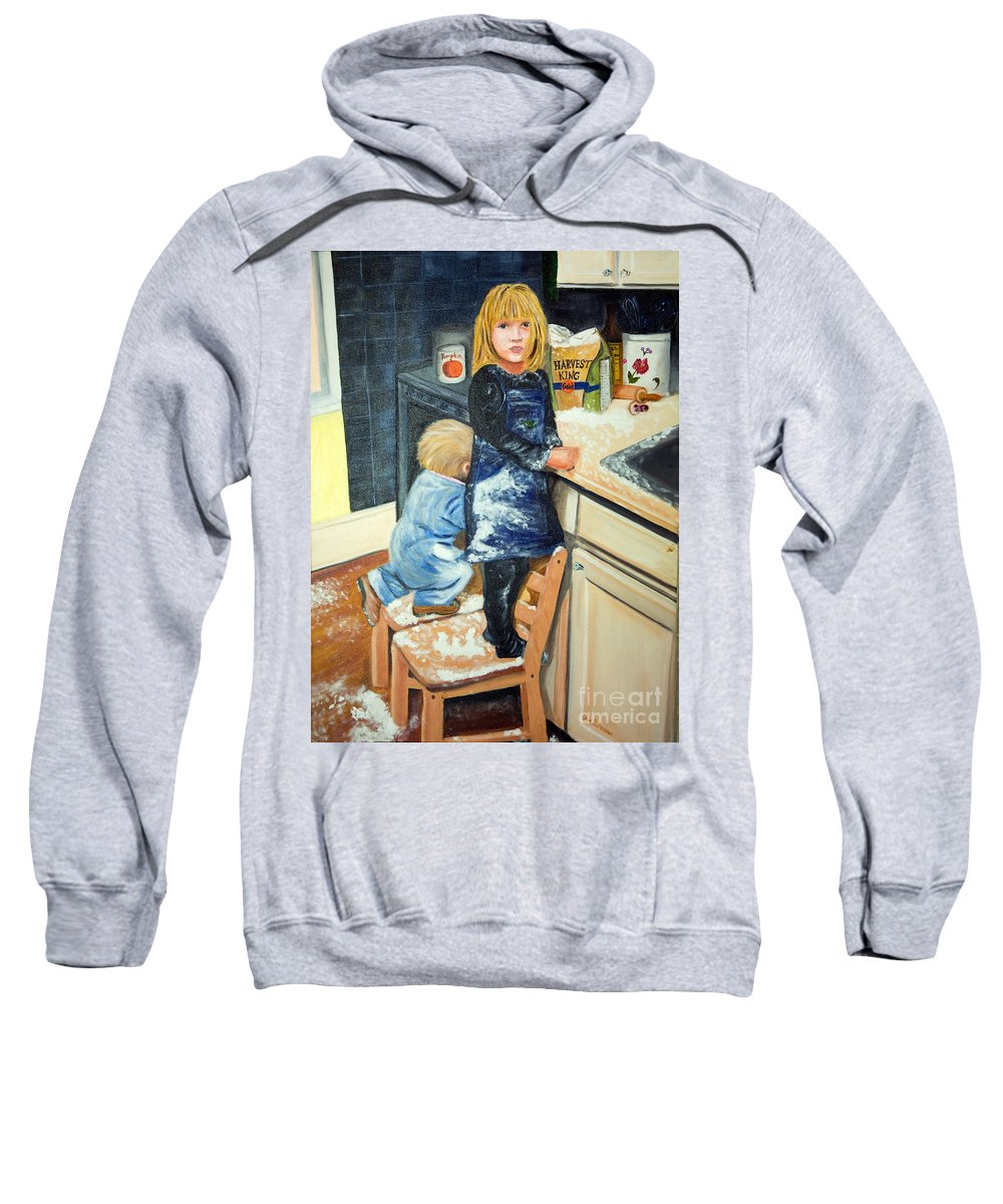 Kids In The Kitchen Making A Mess Sweatshirt featuring the photograph Flour Fight by Iris Richardson