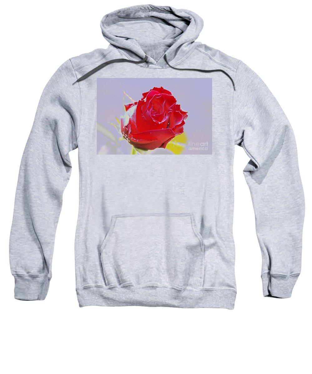 Red Sweatshirt featuring the digital art Flower by Carol Lynch