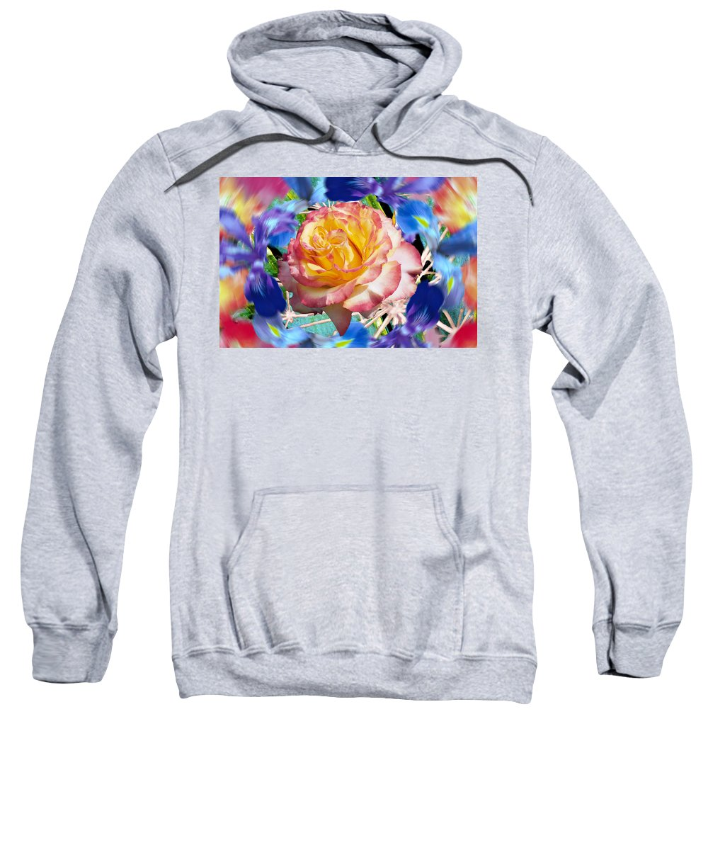 Flowers Sweatshirt featuring the digital art Flower Dance 2 by Lisa Yount