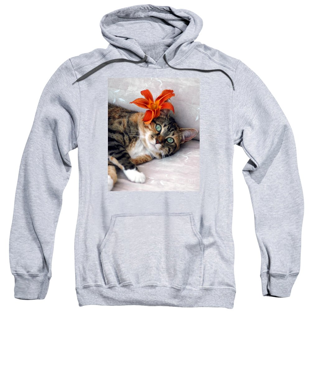 #cat #feline #calico Sweatshirt featuring the photograph Flower In My Hair by Kathleen Struckle