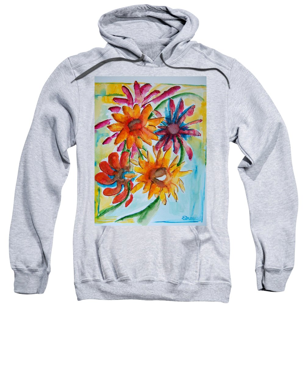 Flowers Sweatshirt featuring the painting Flower Splash by Elaine Duras