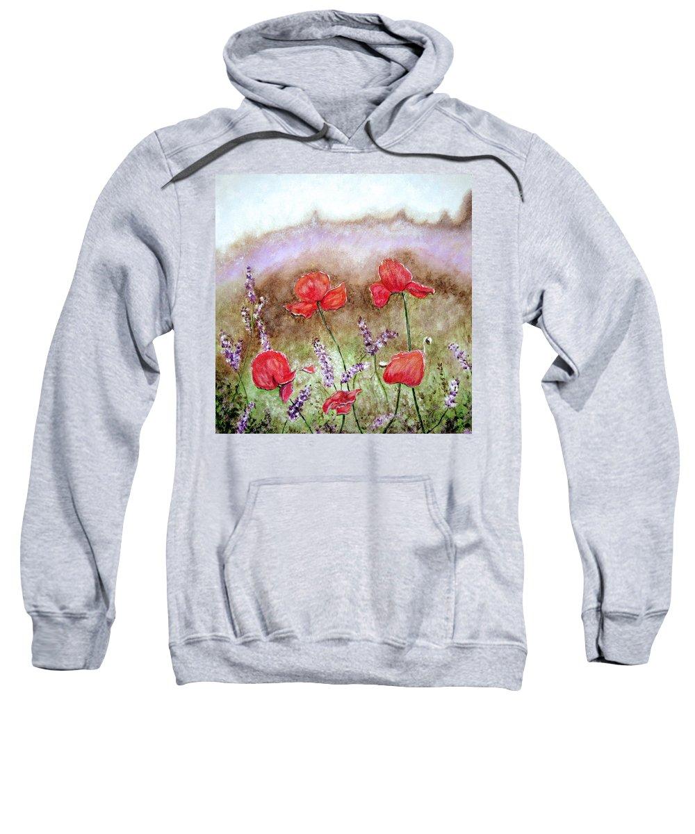 Flowers Sweatshirt featuring the painting Flowering Field by Lisa Stanley