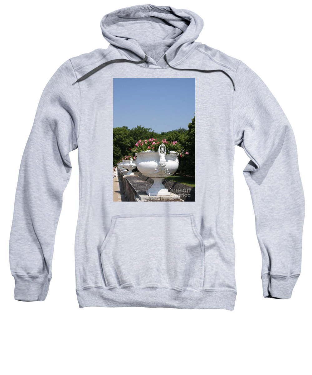 Basin Sweatshirt featuring the photograph Flowerpots In A Row - Chateau Chenonceau by Christiane Schulze Art And Photography