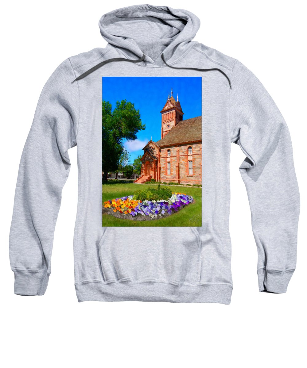 Church Sweatshirt featuring the painting Flowers At The Tabernacle by Bruce Nutting