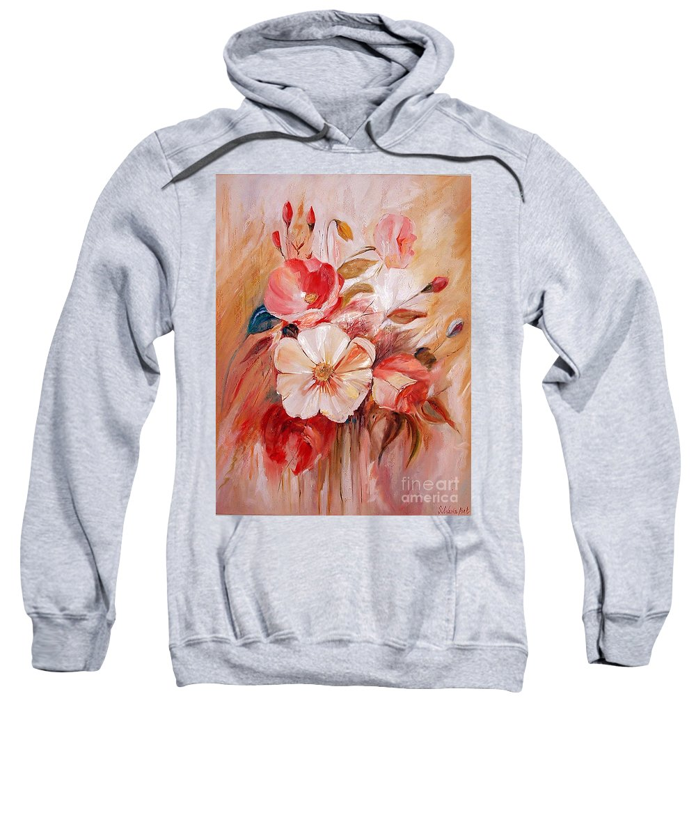 Modern Art Sweatshirt featuring the painting Flowers I by Silvana Abel