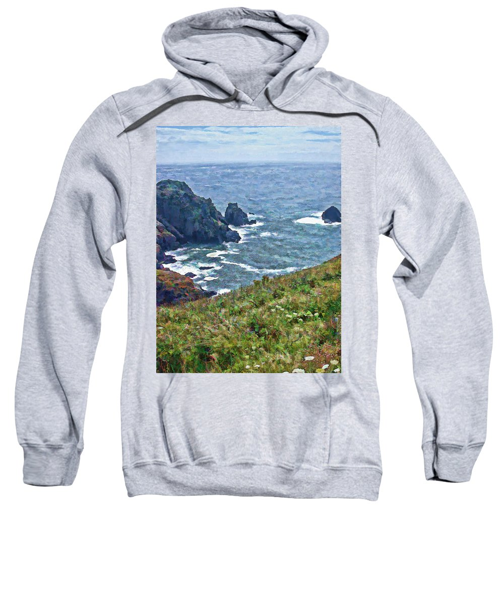 Guernsey Sweatshirt featuring the painting Flowers On Isle Of Guernsey Cliffs by Bellesouth Studio