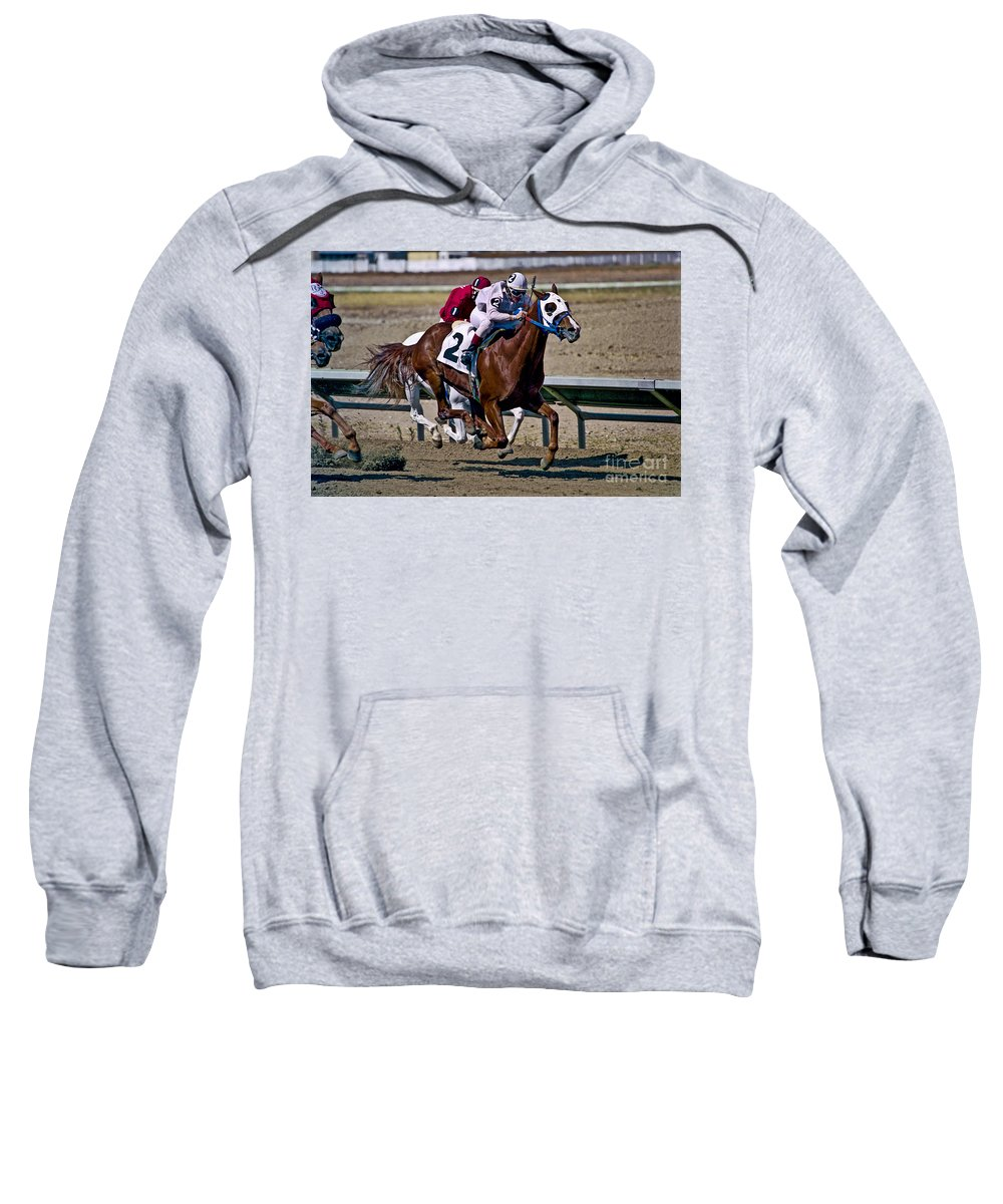 Racing Sweatshirt featuring the photograph Flying Hooves by Kathy McClure