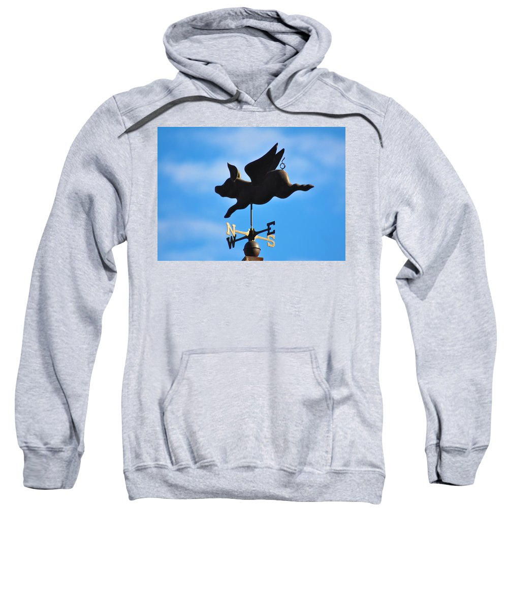 Flying Sweatshirt featuring the photograph Flying Pig by Bill Cannon