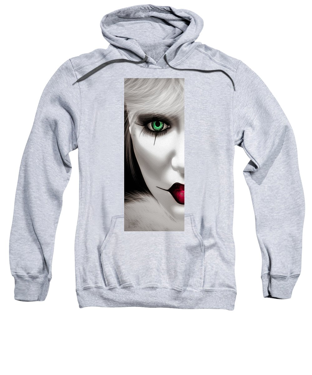 Harlequin Sweatshirt featuring the painting Fool by Bob Orsillo