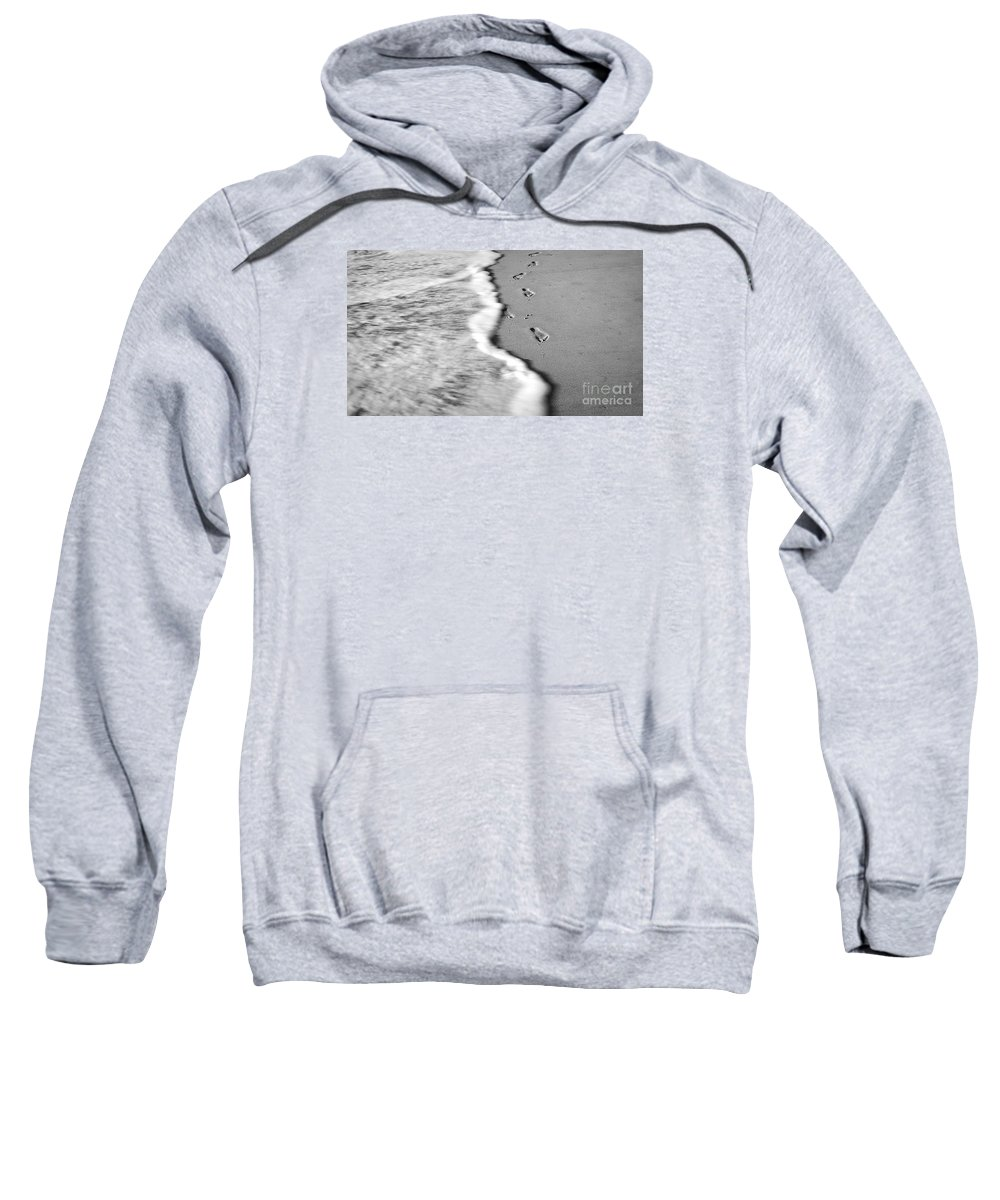 Ocean Sweatshirt featuring the photograph Footprints In The Sand Bw by Robin Lynne Schwind