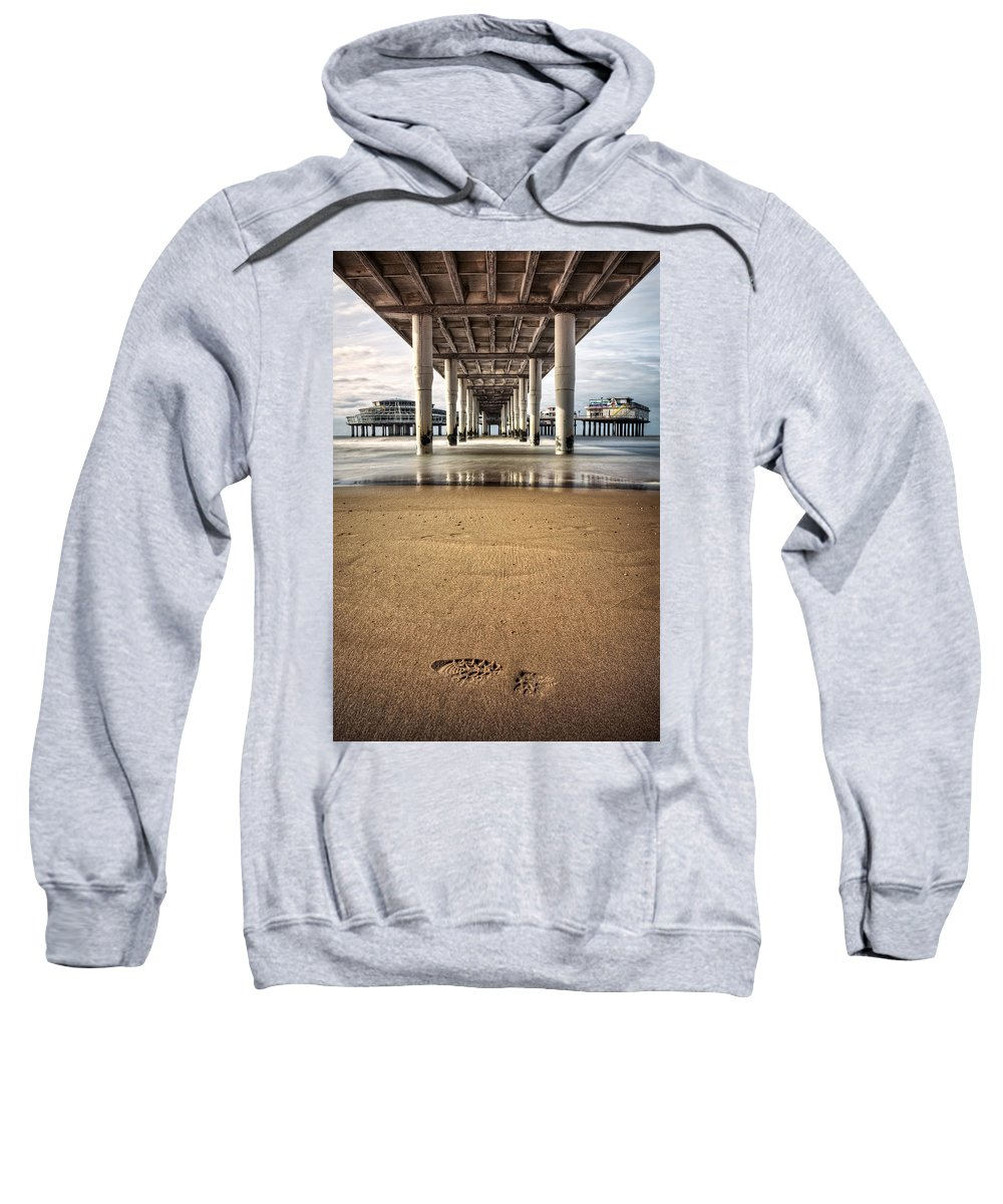 Piers Sweatshirt featuring the photograph Footprints In The Sand by Dave Bowman