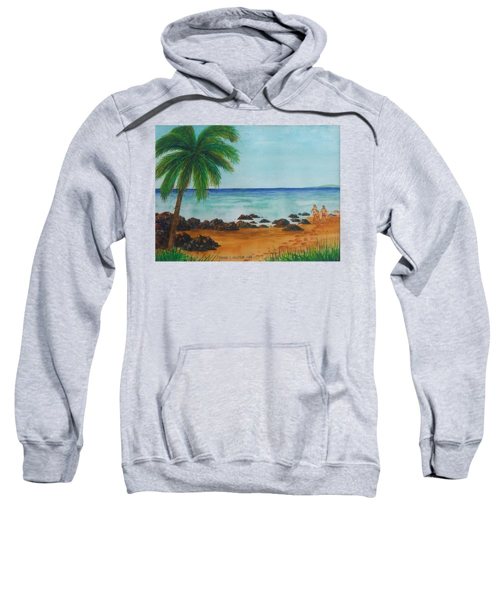 Beach Shack Four Los Pinones Pr Sweatshirt featuring the painting Footprints On Los Pinones Beach Pr by Frank Hunter