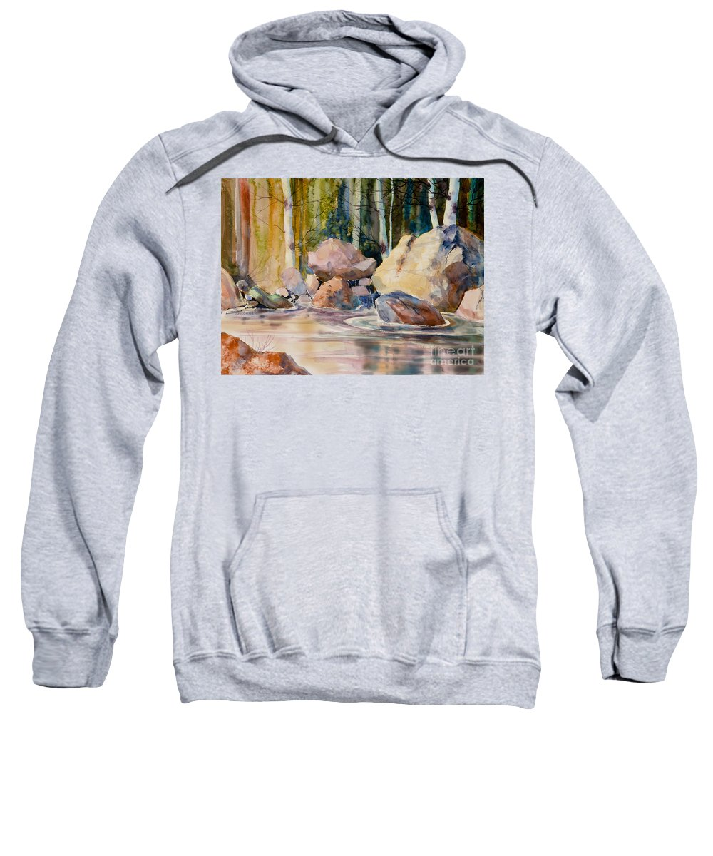 Forest And River Sweatshirt featuring the painting Forest And River by Teresa Ascone