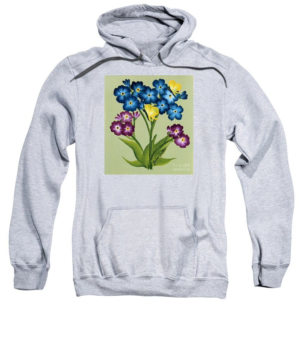 Barbara Griffin Sweatshirt featuring the painting Forget Me Nots And Butterflies by Barbara Griffin