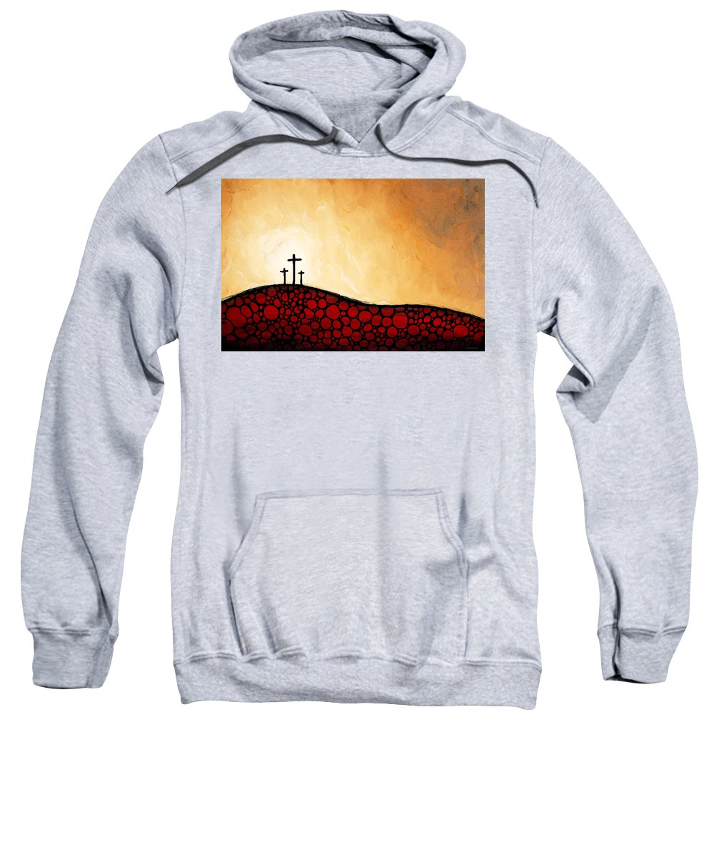 Christian Sweatshirt featuring the painting Forgiven - Christian Art By Sharon Cummings by Sharon Cummings