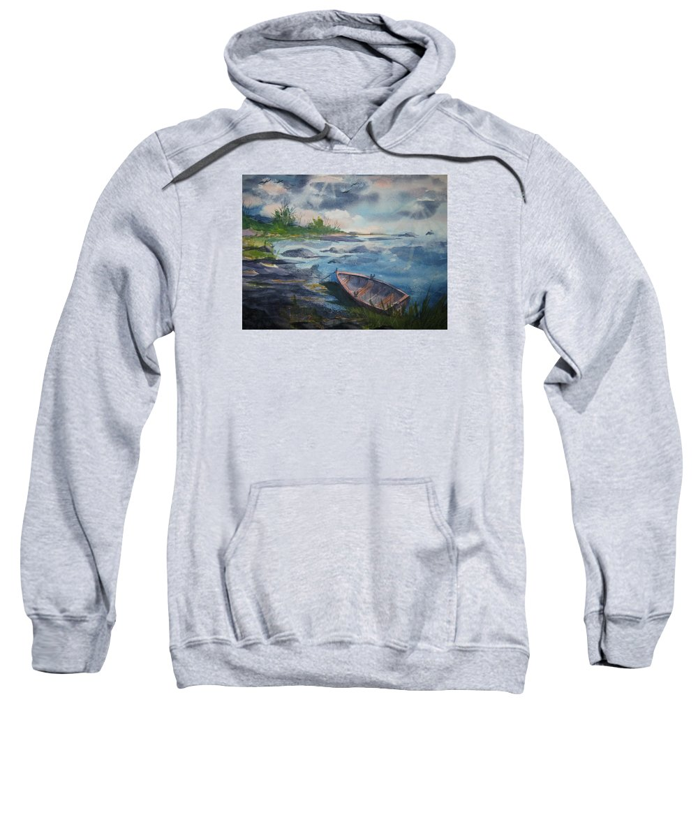 Rowboat Sweatshirt featuring the painting Forgotten Rowboat by Ellen Levinson