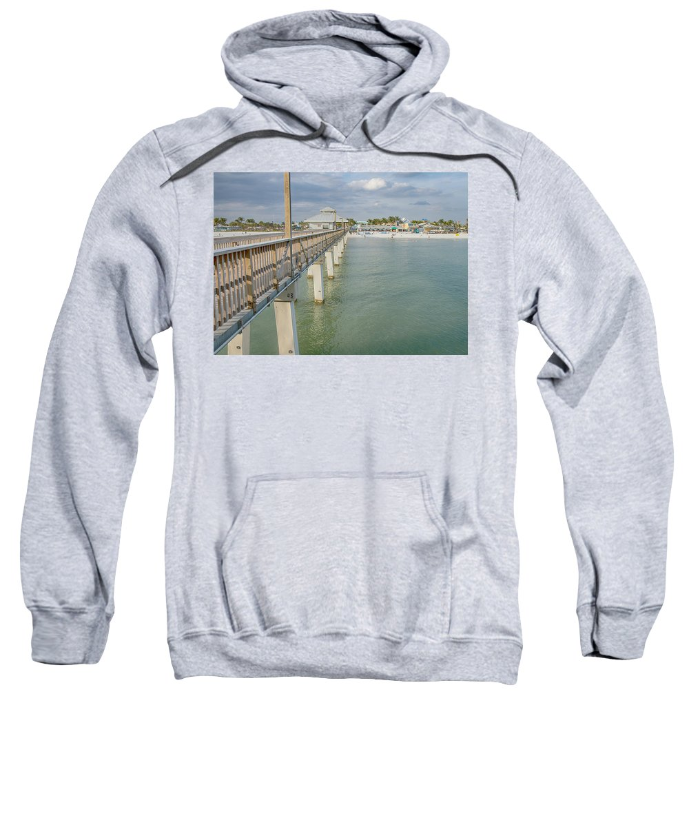 Pier Sweatshirt featuring the photograph Fort Myers Beach by Kim Hojnacki