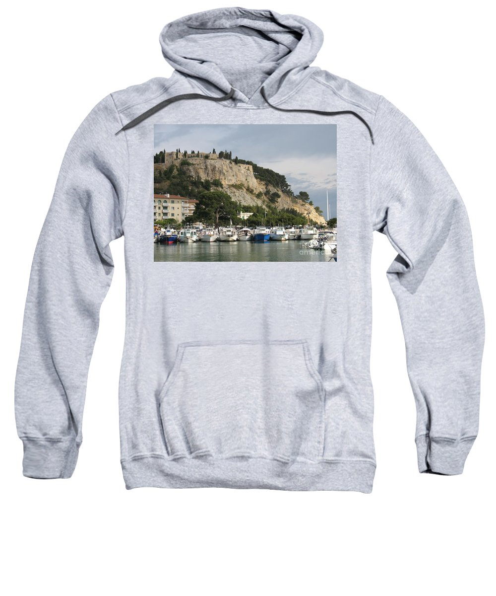 Fortress Sweatshirt featuring the photograph Fortress And Harbor Cassis by Christiane Schulze Art And Photography