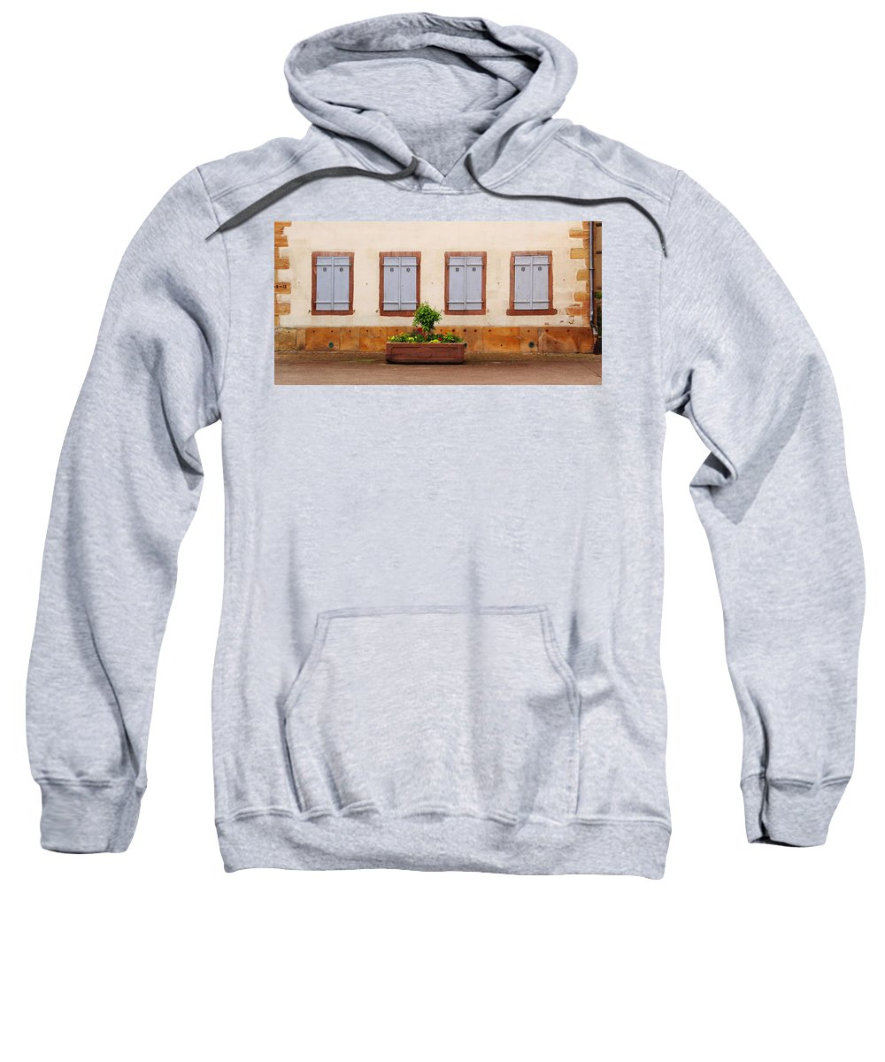 Shutters Sweatshirt featuring the photograph Four Pale Blue Shutters In Alsace France by Greg Matchick