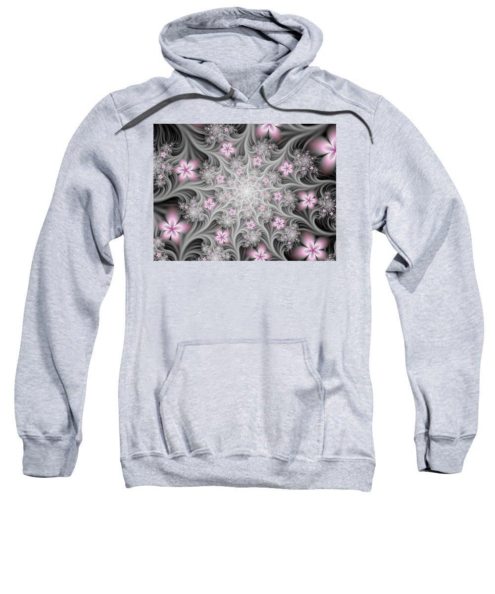 Digital Art Sweatshirt featuring the digital art Fractal Soft Flowers by Gabiw Art