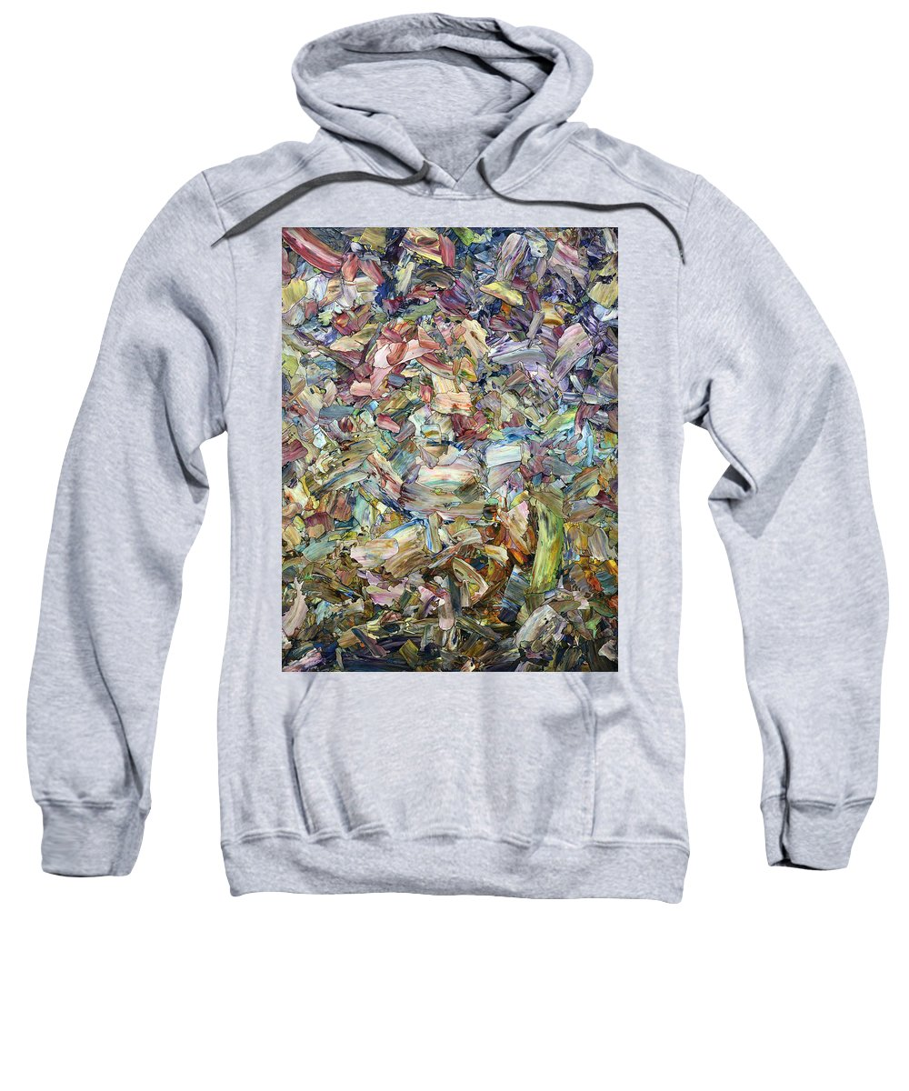 Abstract Sweatshirt featuring the painting Roadside Fragmentation by James W Johnson