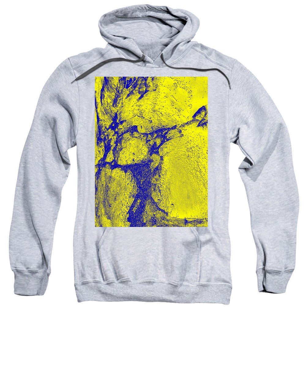 Photography Sweatshirt featuring the photograph Freeway Pole Art Sailor-pole Art Photo Series Yellow Blue by Sirron Kyles