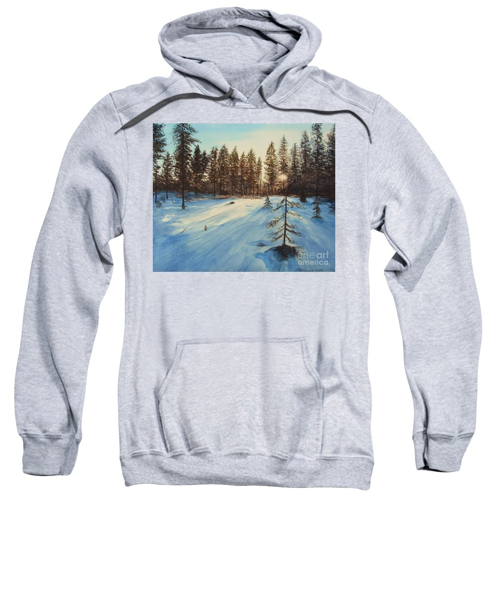 Winter Landscape Sweatshirt featuring the painting Freezing Forest by Martin Howard