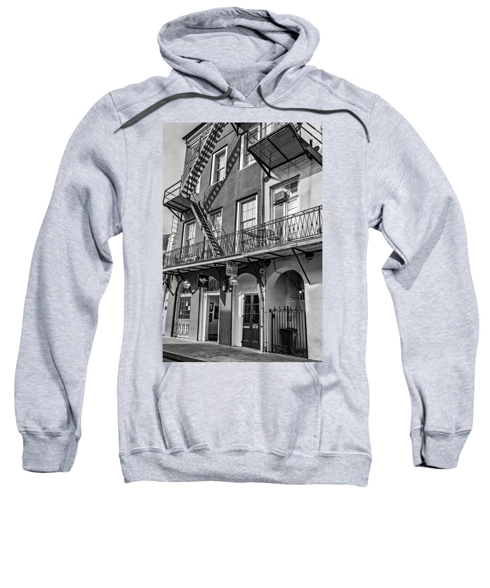 French Quarter Sweatshirt featuring the photograph French Quarter Flair Bw by Steve Harrington
