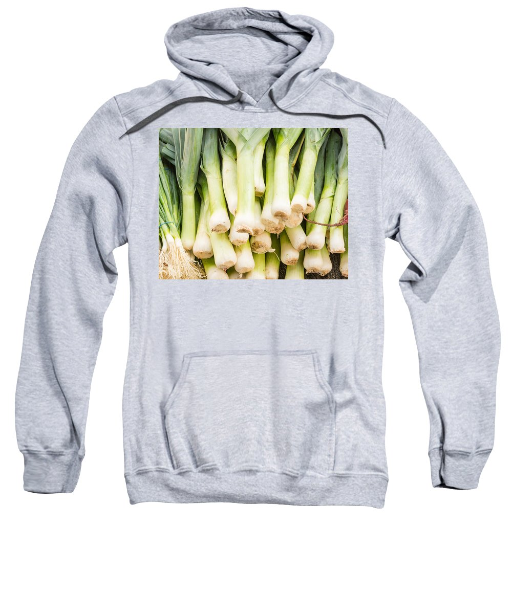 Agriculture Sweatshirt featuring the photograph Fresh Leeks by John Trax