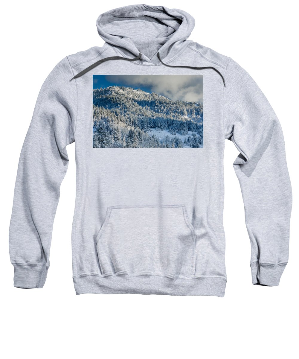 Dramatic Sky Sweatshirt featuring the photograph Fresh Snow On The Mountain by Greg Nyquist
