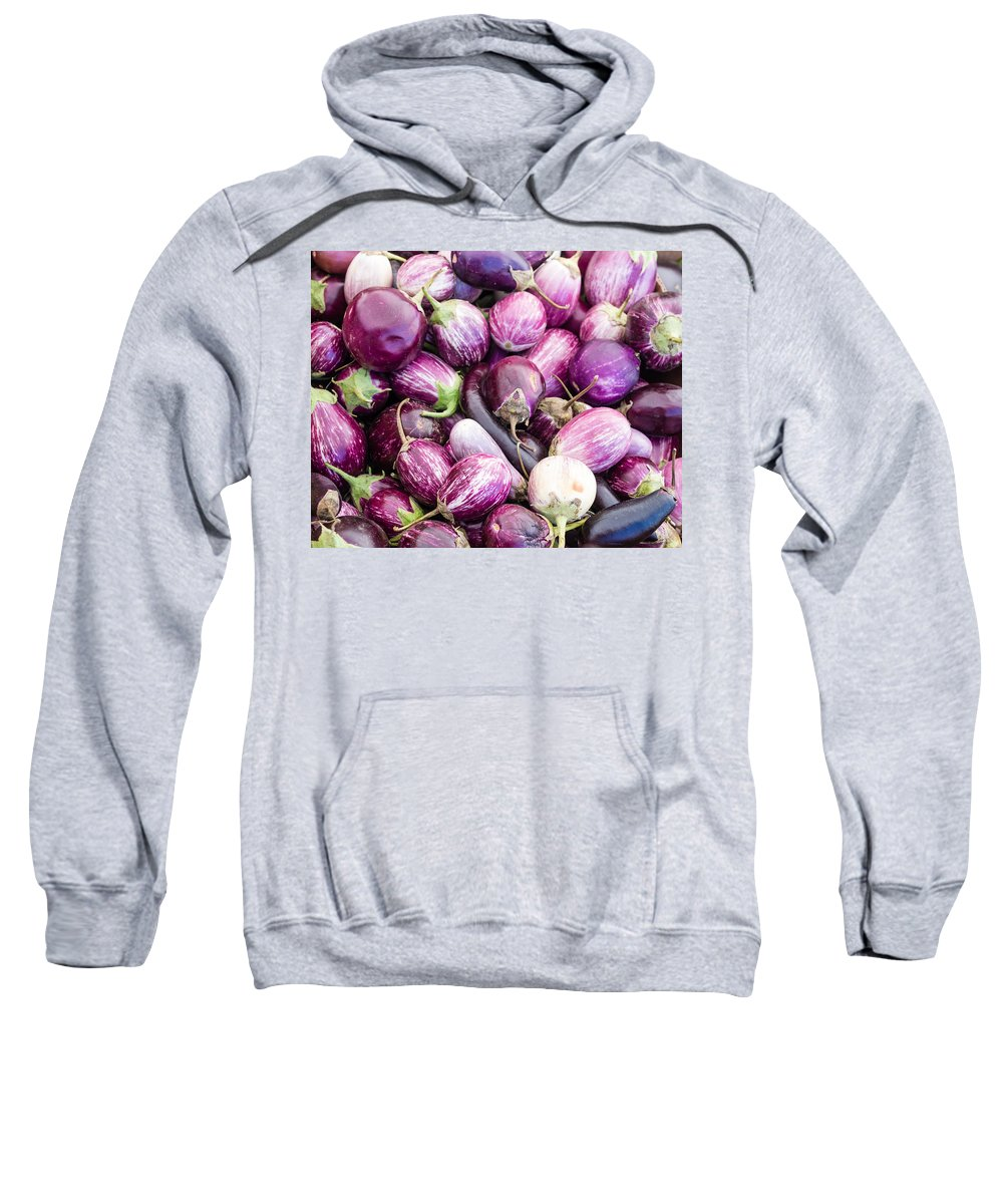Agriculture Sweatshirt featuring the photograph Freshly Harvested Purple Eggplants by John Trax