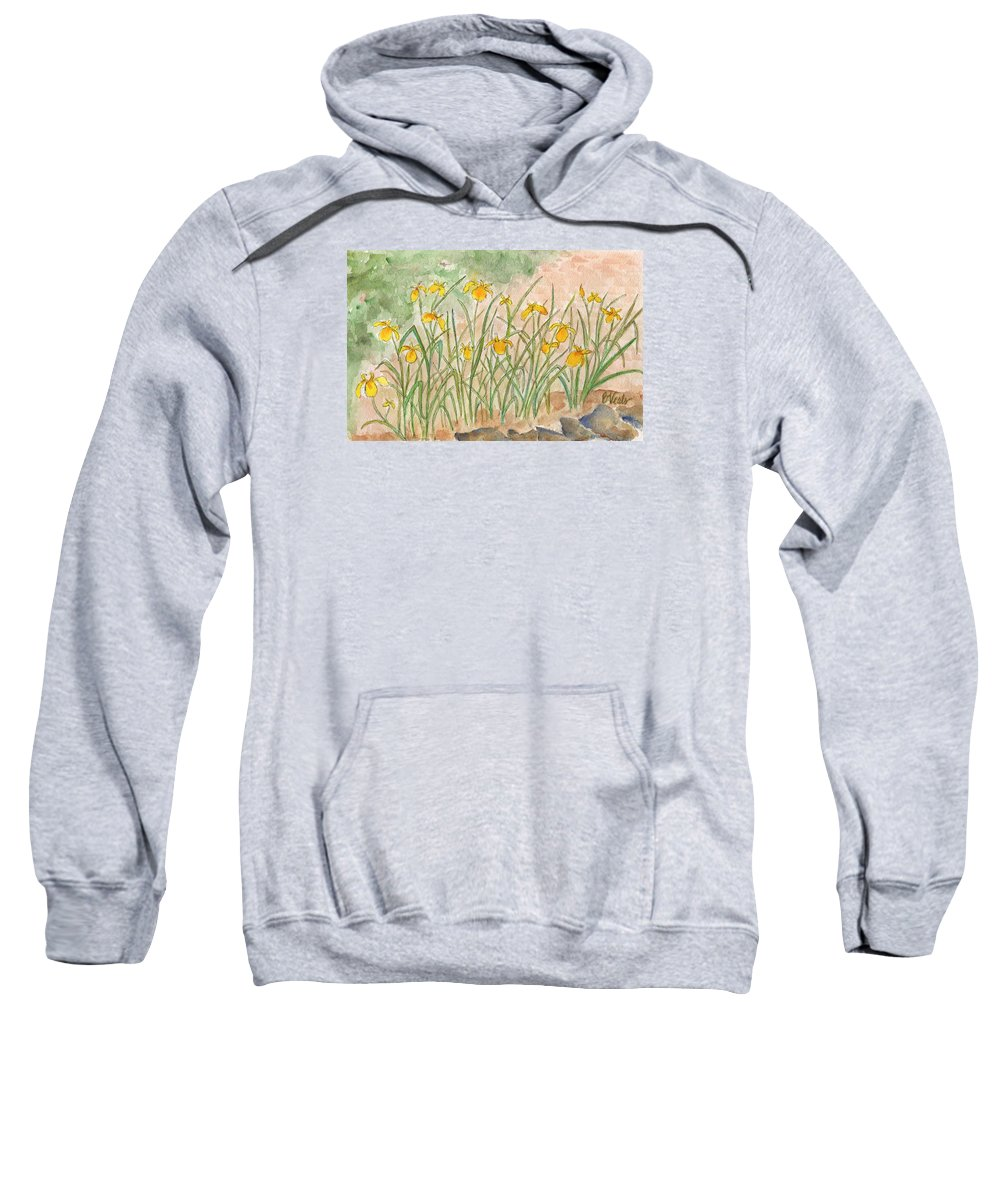 Yellow Iris Sweatshirt featuring the painting Lkp's Friendly Garden by Bev Veals