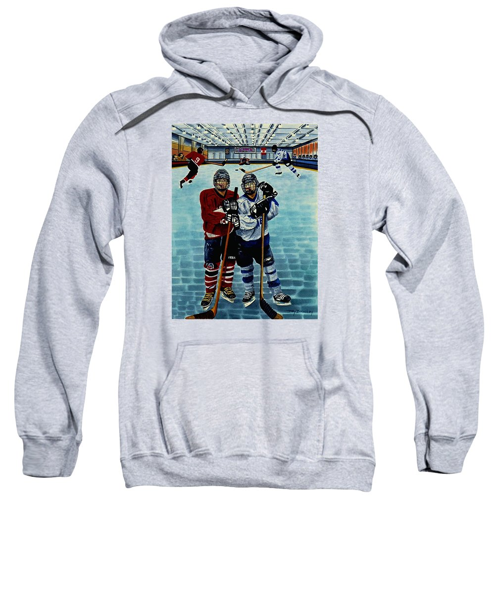 Friends Sweatshirt featuring the painting Friends And Foes by Joy Bradley
