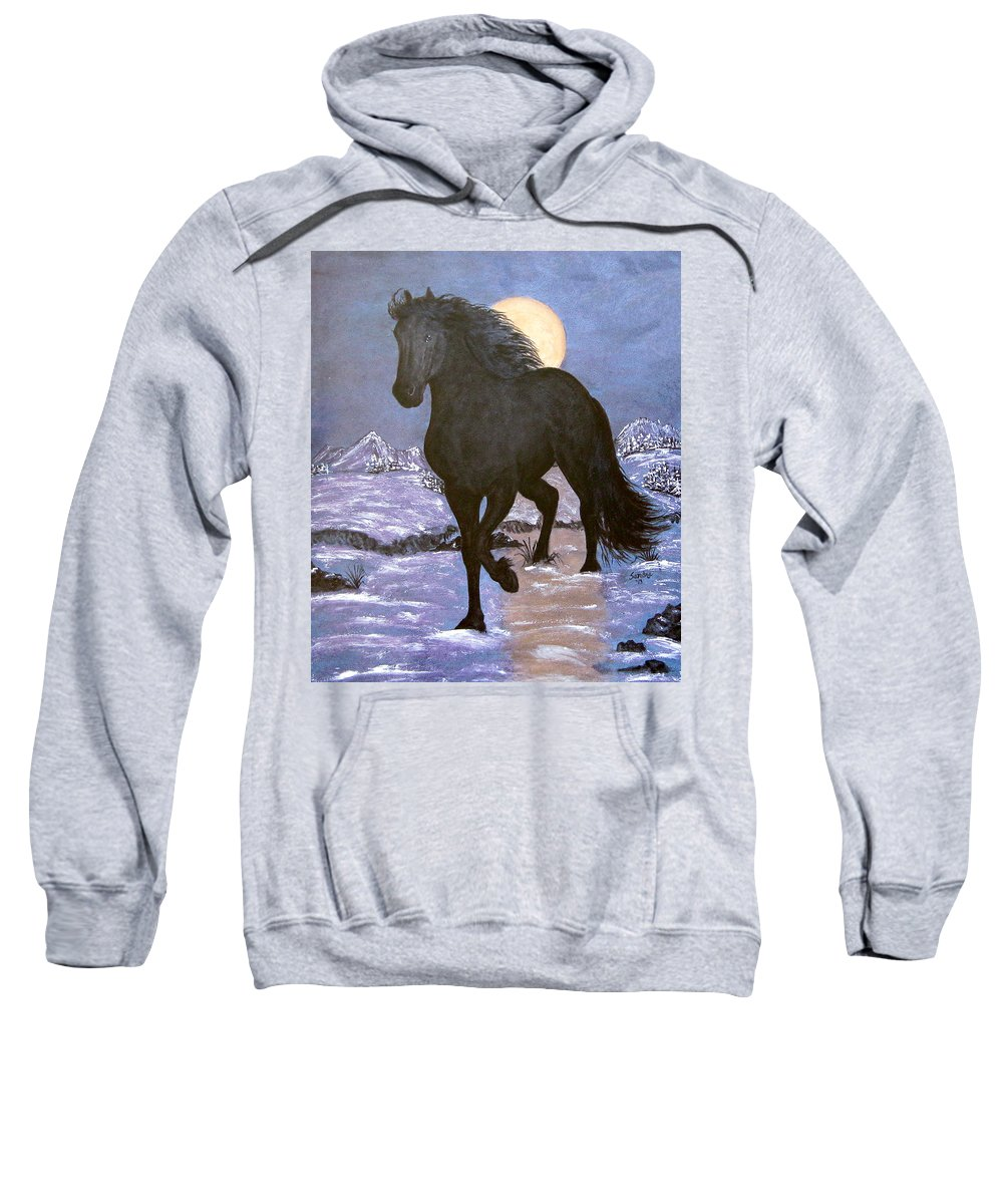 Friesian Horse Sweatshirt featuring the painting Friesian Horse Blue Moonlight Setting by Sandra Maddox
