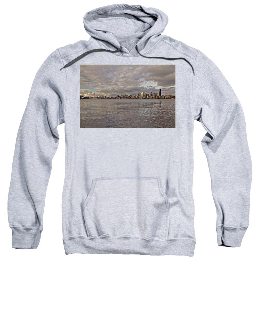 Sun Set Sweatshirt featuring the photograph from Alki Beach Seattle skyline by SC Heffner