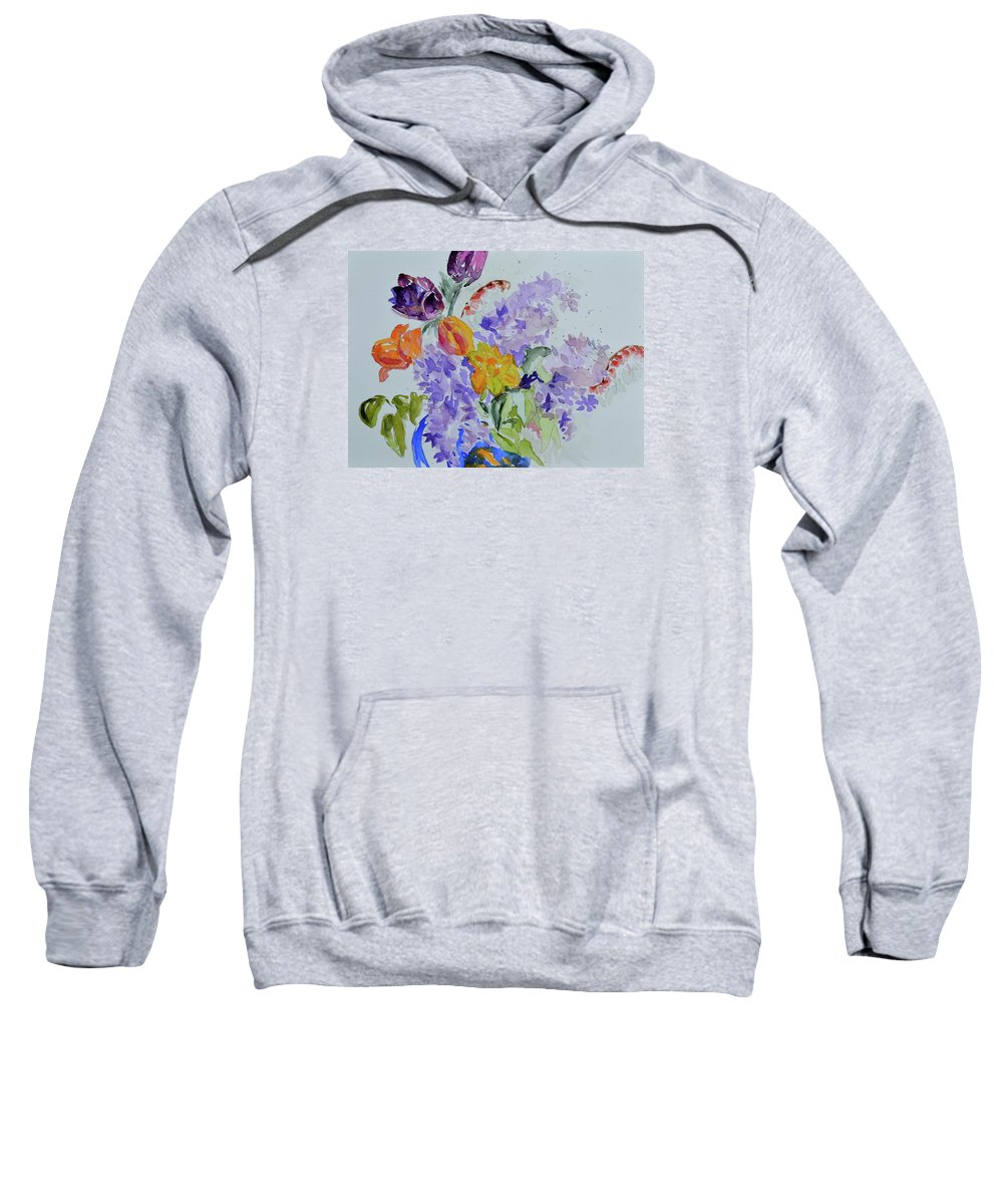Lilacs Sweatshirt featuring the painting From Grammy's Garden by Beverley Harper Tinsley