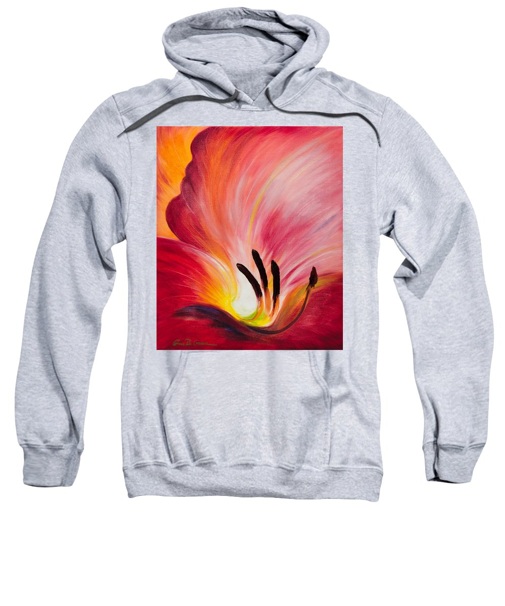 Red Sweatshirt featuring the painting From The Heart Of A Flower Red I by Gina De Gorna