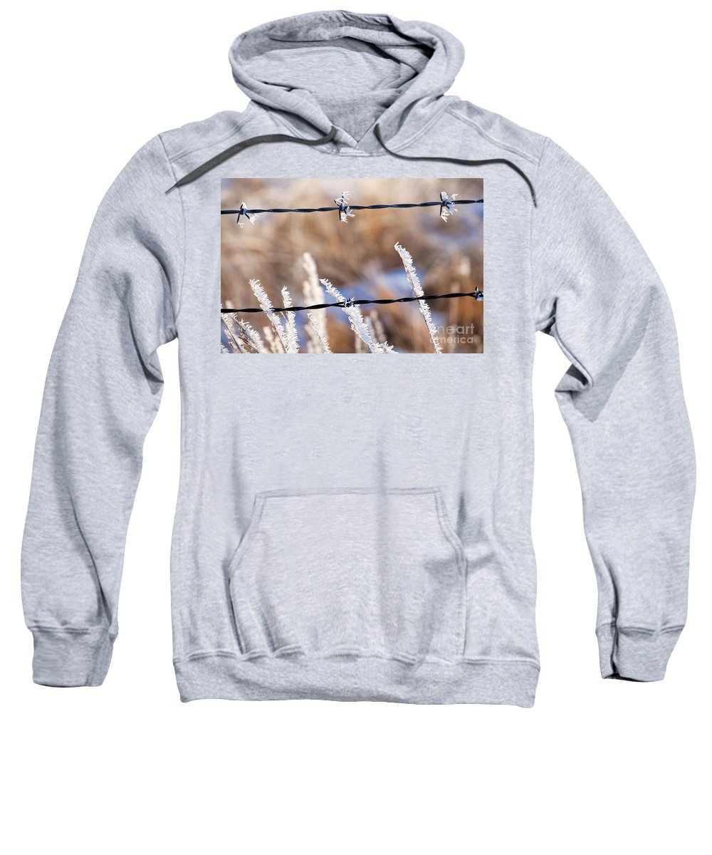 Ice Crystals Sweatshirt featuring the photograph Frosted Fence Line by Jim Garrison
