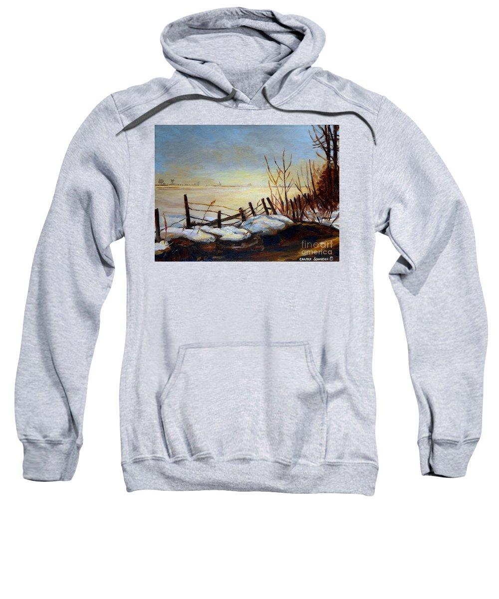 Frozen Lake Near Ste Adele Sweatshirt featuring the painting Frozen Lake Near Ste. Adele by Carole Spandau