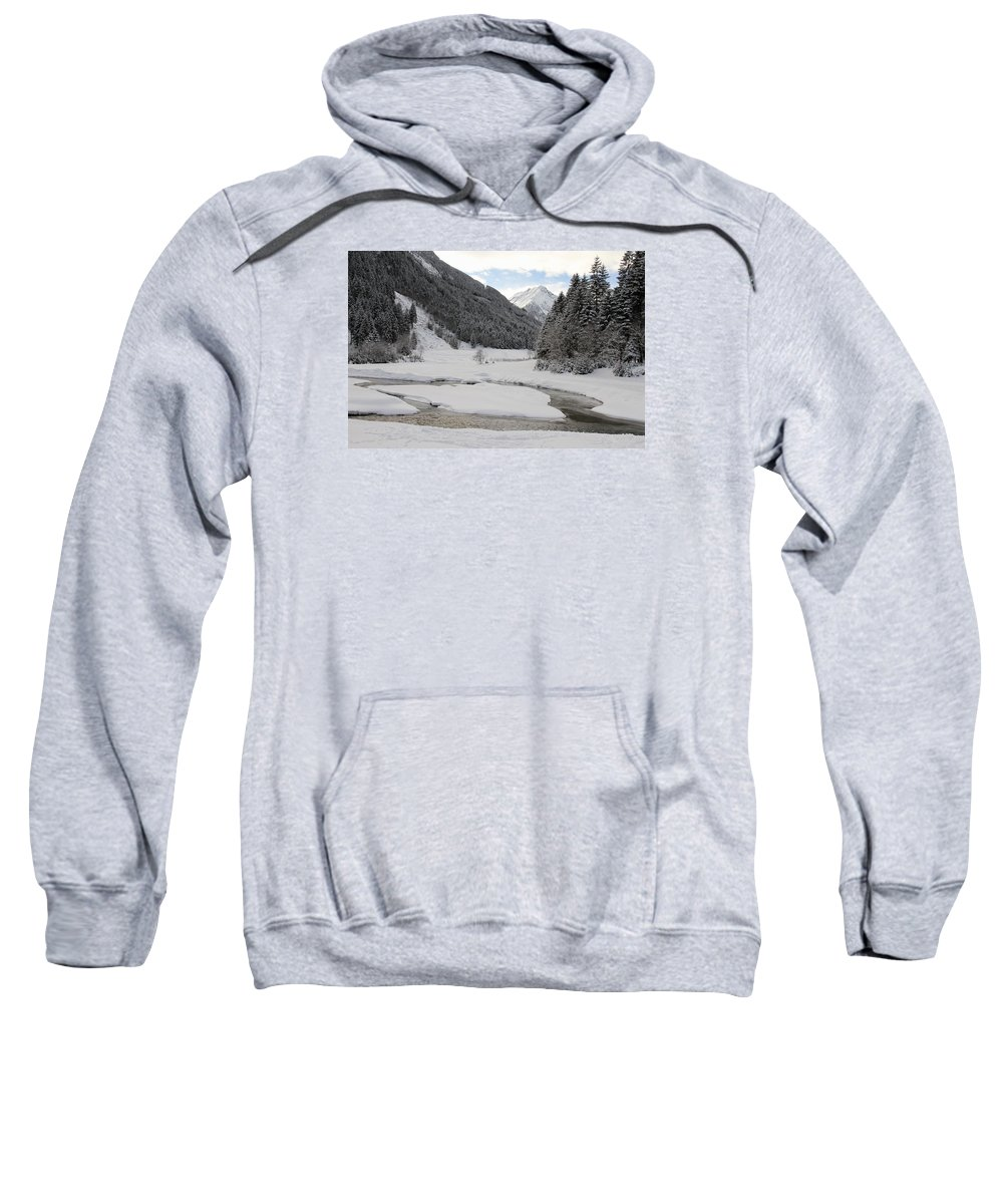 Winter Sweatshirt featuring the photograph Frozen River by Christiane Schulze Art And Photography