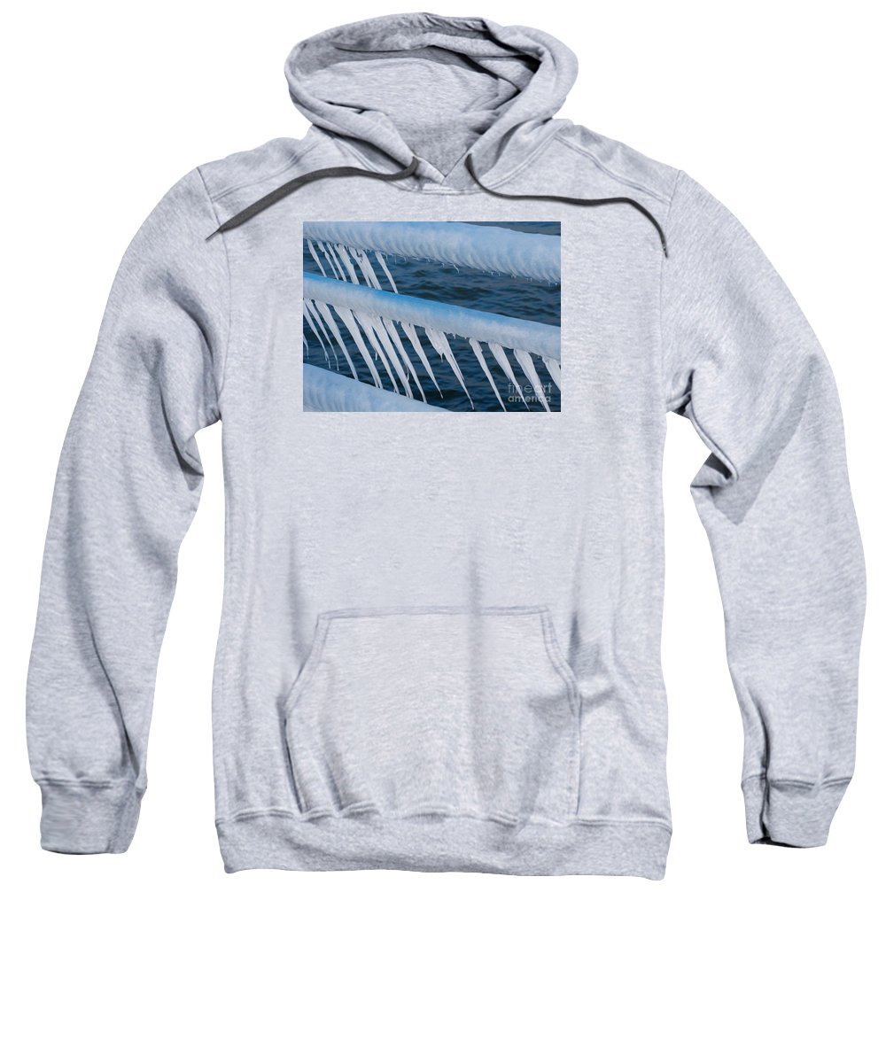 Icicles Sweatshirt featuring the photograph Frozen Stiff by Ann Horn