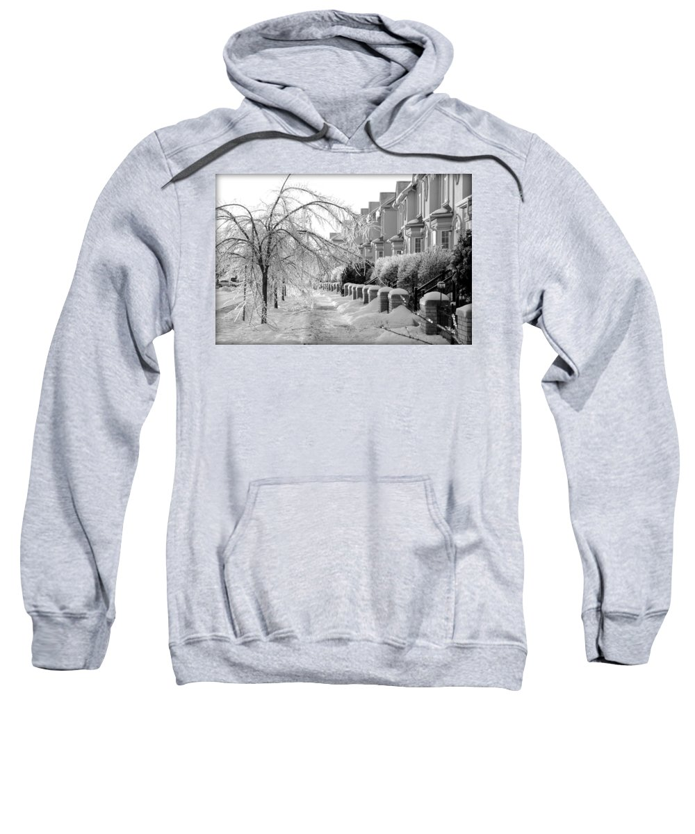 Frozen Sweatshirt featuring the photograph Frozen Suburbia by Valentino Visentini