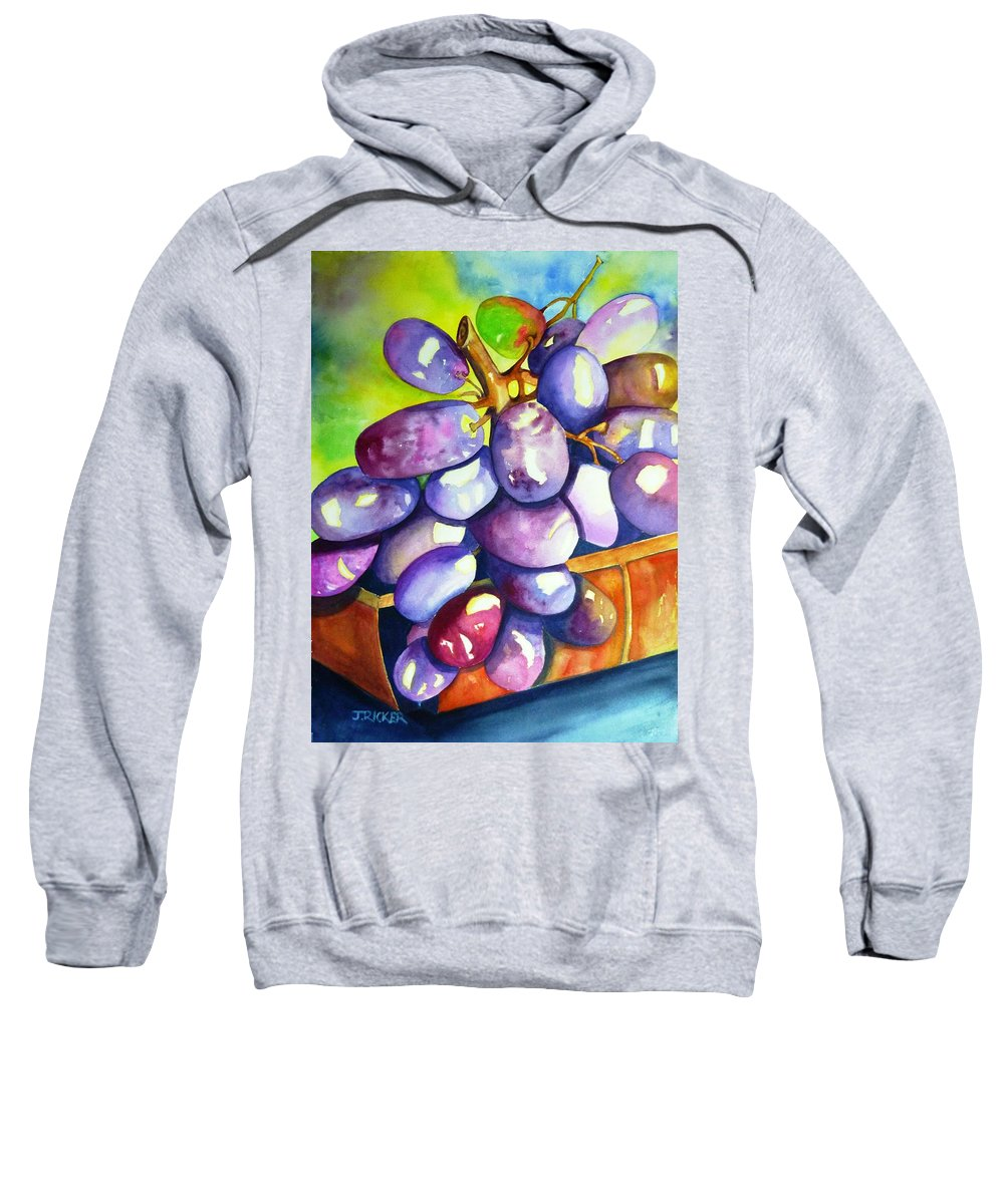Rainbow Grapes Sweatshirt featuring the painting Purple Grapes by Jane Ricker