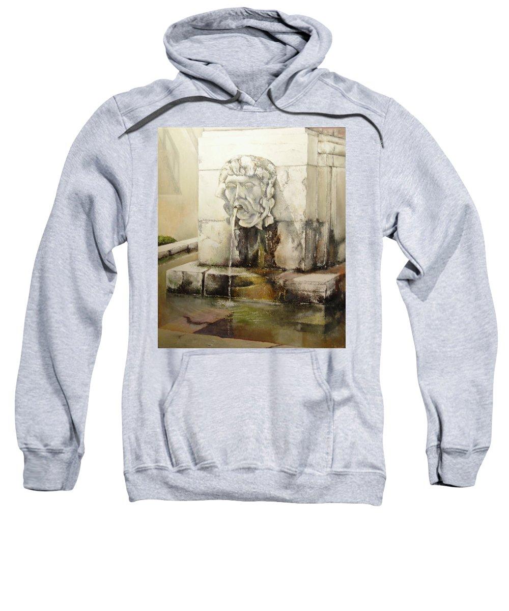 Fuente De San Isidoro- Leon Sweatshirt featuring the painting Fuente de San Isidoro by Tomas Castano