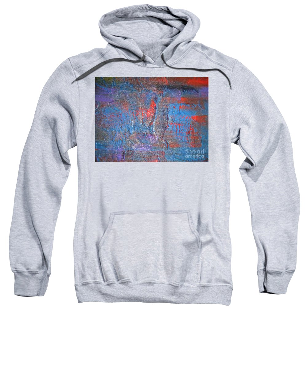 Abstract Sweatshirt featuring the painting Funny Rain by Silvana Abel