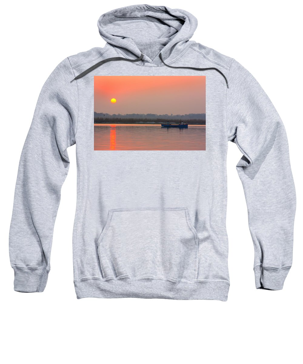 Indian Sunset Sweatshirt featuring the photograph Ganges Sunset by Amanda Stadther